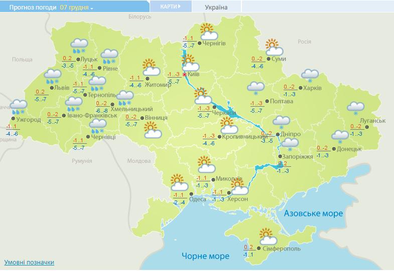 Данные Укргидрометеоцентра