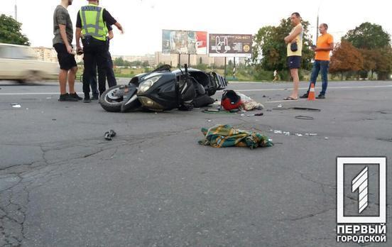 В Кривом Роге на центральном проспекте столкнулись два мотоцикла